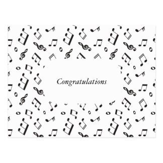 Musical Notes Black and White Postcard