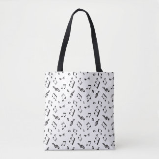 Musical Notes Black and White Tote Bag