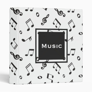 Musical Notes Black and White Vinyl Binder