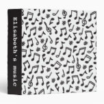 Musical notes black white scribbly music pattern 3 ring binders