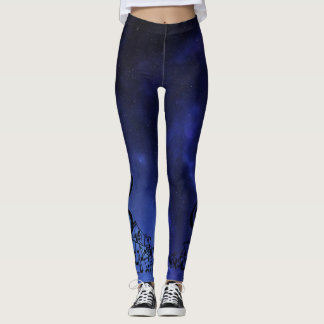 Musical Notes & Blue Constellations Leggings