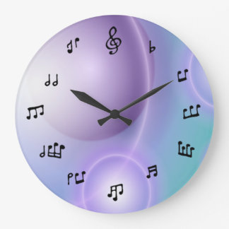Musical Notes Clock on light blue/purple
