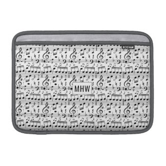Musical Notes custom monogram Macbook sleeves