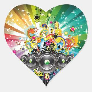 Musical Notes Design Heart Sticker