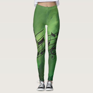 Musical Notes & Green Constellations Leggings
