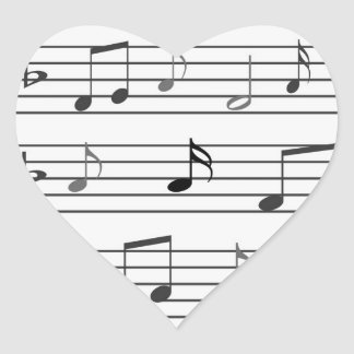 Musical Notes Heart Sticker