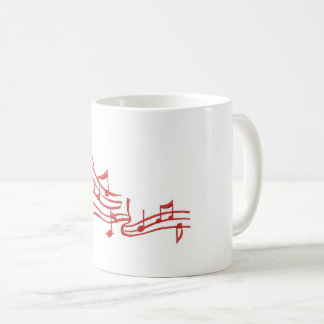 musical notes - imitation of embroidery coffee mug