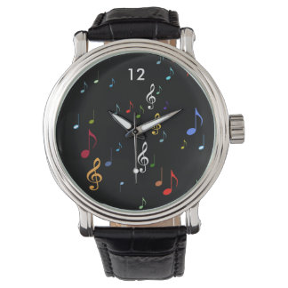 musical notes in colors wristwatches