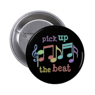 Musical Notes Linear Multicolor PICK UP THE BEAT 2 Inch Round Button
