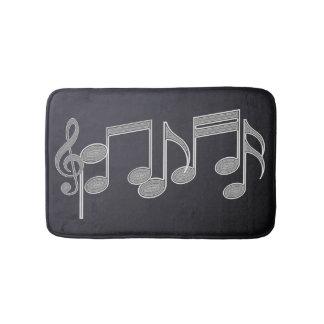 Musical Notes Linear Silver Bath Mat