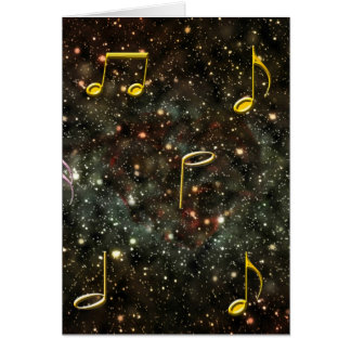 Musical Notes Melody Starry Night Blank Notecard