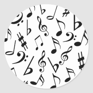 Musical Notes Music Stickers - Black and White