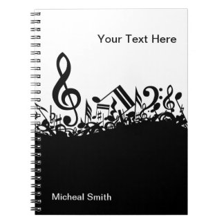 Musical Notes Notebook with Custom Name