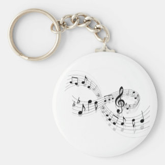 Musical Notes On A Staff Line Keychain