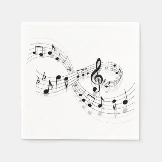 Musical Notes On A Staff Line Paper Napkins