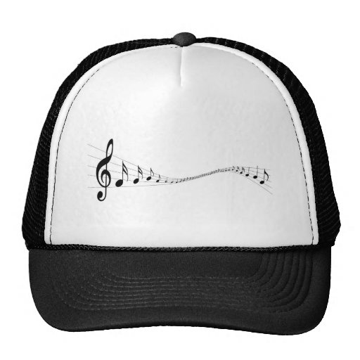 Musical notes on a wave shaped stave hat