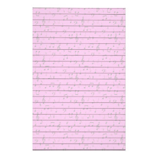 Musical Notes on Pink Stationery