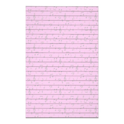 Musical Notes on Pink Customized Stationery