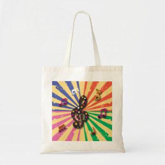 Musical Notes on Sunsplash Background Tote Bag