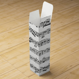 musical notes on white wine gift box