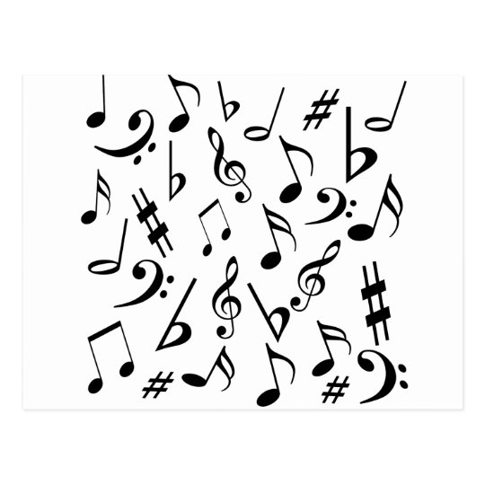 Musical Notes Postcard - White and Black