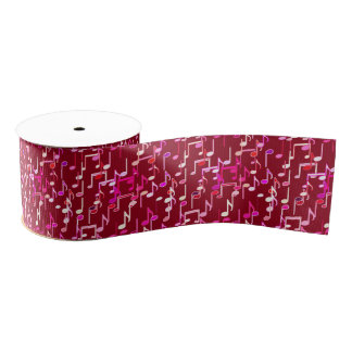 Musical Notes print - burgundy, multi Grosgrain Ribbon