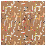 Musical Notes print - Caramel Tan, Multi Fabric