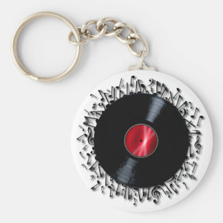 Musical Notes Record Basic Round Button Keychain