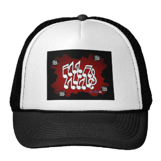 MUSICAL NOTES RED BACKGROUND PRODUCTS MESH HAT