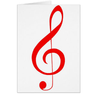 "Musical ""Notes""_Red Treble Clef Card"