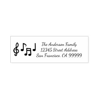 Musical Notes - Self Inking Address Stamp