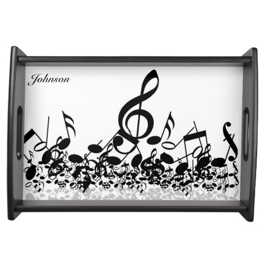 Musical Notes Serving Tray with Custom Name