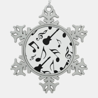 Musical Notes - Sheet Music Design Pewter Snowflake Ornament