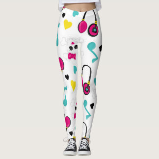 Musical Notes Skulls Headphones and Hearts Pattern Leggings
