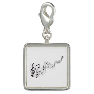 Musical Notes - Square Charm, Silver Plated Charm