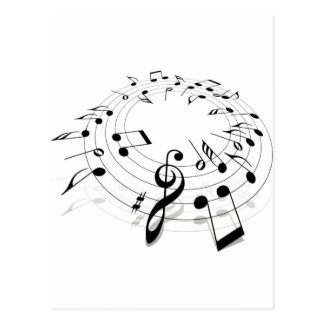 Musical Notes Swirl Post Cards