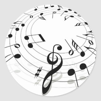 Musical Notes Swirl Round Sticker