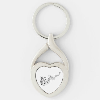 Musical Notes, Twisted Heart Metal Keychain
