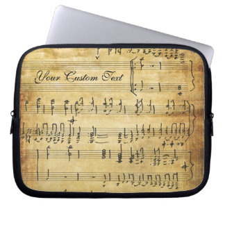Musical Notes Vintage Grunge Parchment Laptop Sleeve