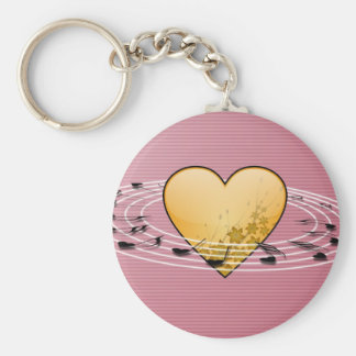Musical Notes with Heart Design Basic Round Button Keychain