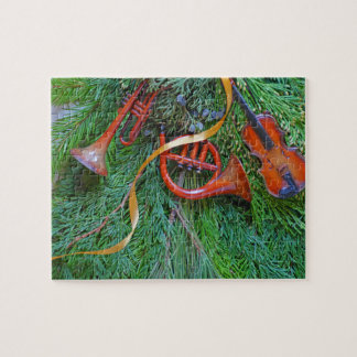 Musical ornaments on greenery jigsaw puzzle