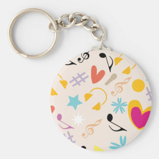 Musical Pattern in Abstract Basic Round Button Keychain