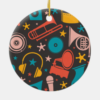 Musical Pattern - Instruments Round Ceramic Ornament