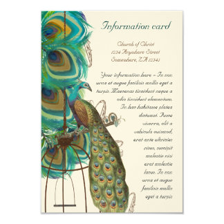 Musical Peacock Bird Cage Feather Wedidng Invitate Card