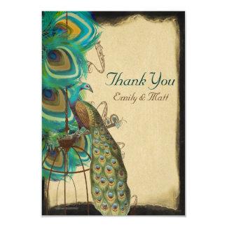 Musical Peacock Birdcage Feather Wedding Thank you Card
