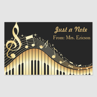 Musical Piano and Treble Clef Personalized Sticker