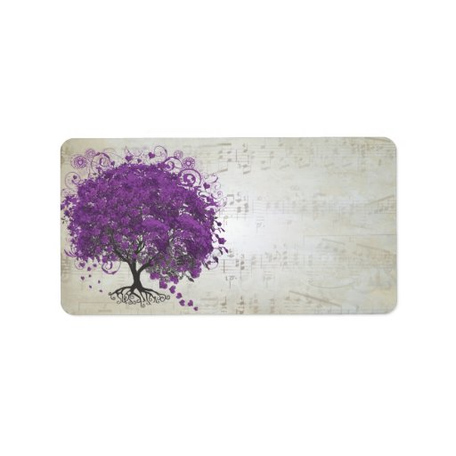 Musical Purple Heart Leafed Tree Address Label