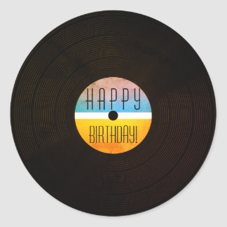 Musical record plate vinyl vintage style round sticker