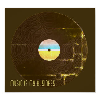 Musical retro vintage style record plate cover poster