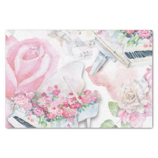 Musical Roses and Grand Piano Fantasy Tissue Paper